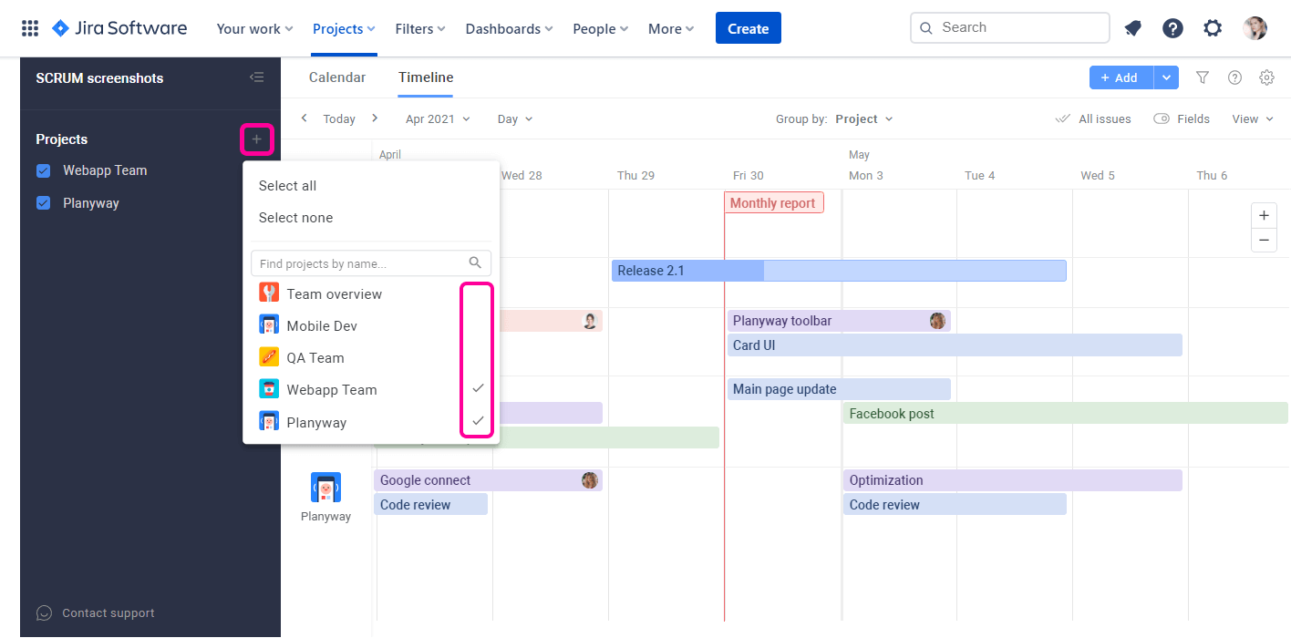 Planyway for Jira Cloud Guide Multiproject View