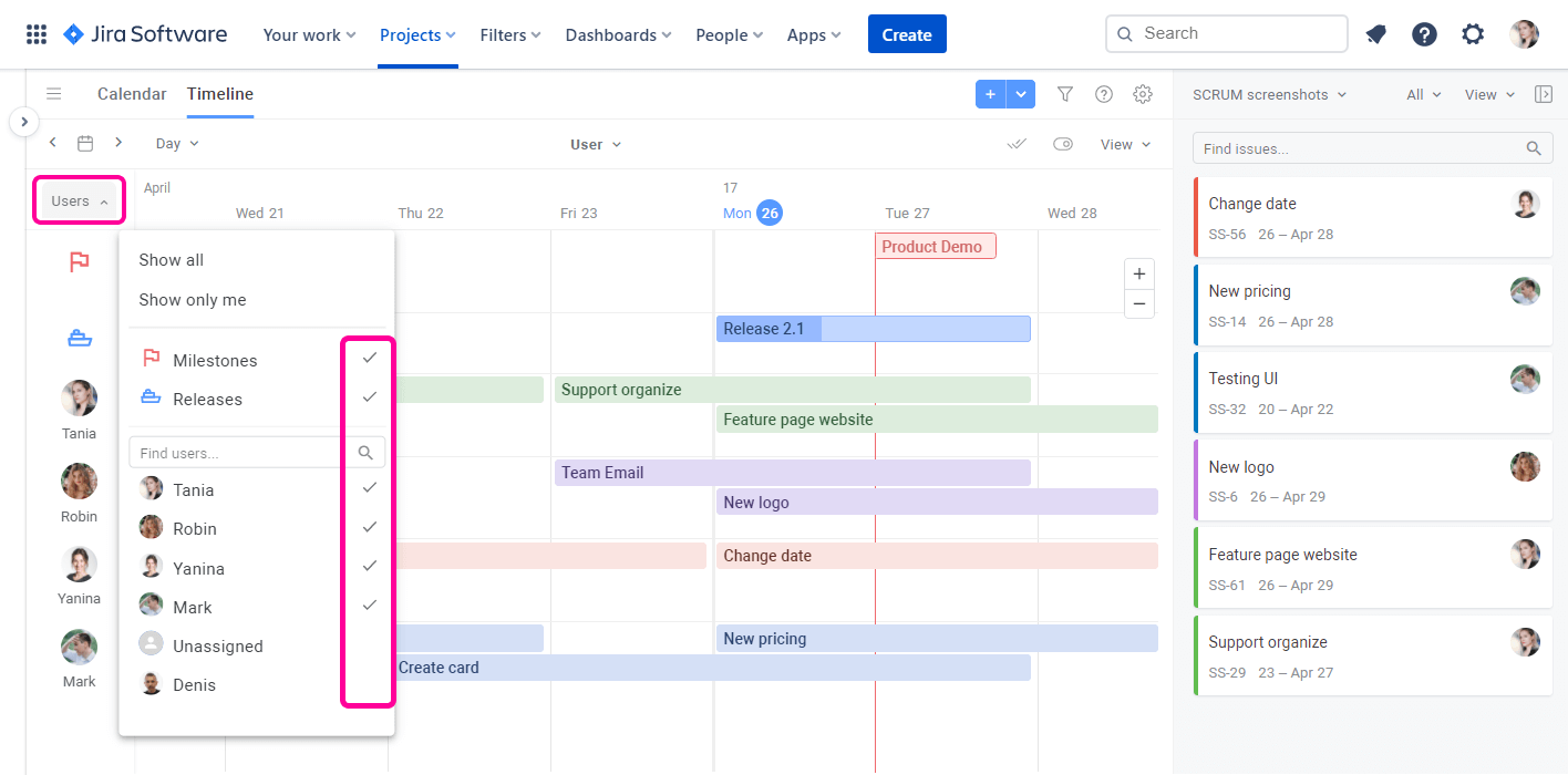 Planyway for Jira Cloud Guide Select Users Timeline