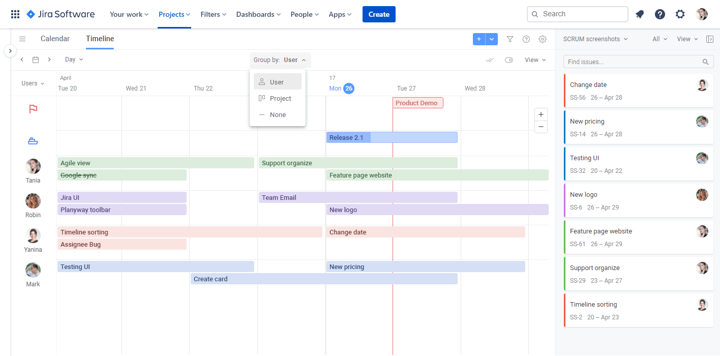 Planyway for Jira Cloud Guide Planyway Timeline
