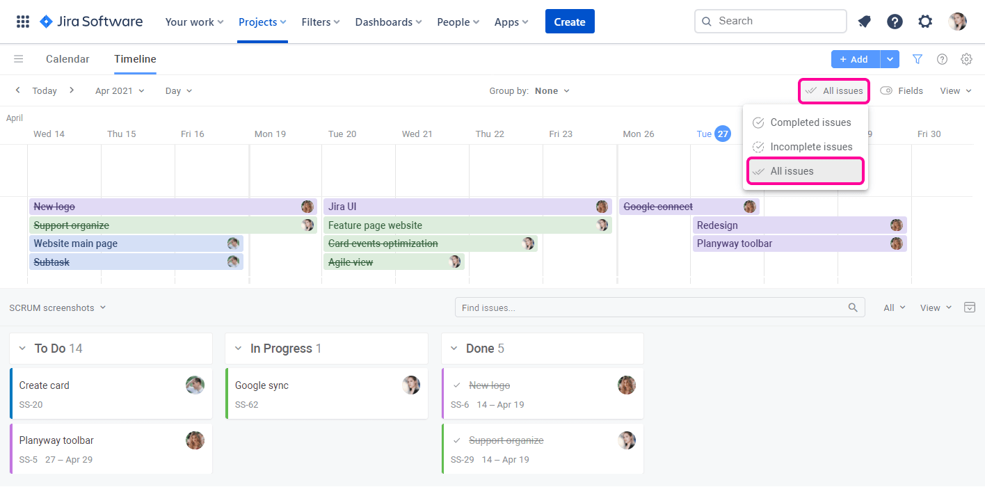 Planyway for Jira Cloud Guide Track Statuses