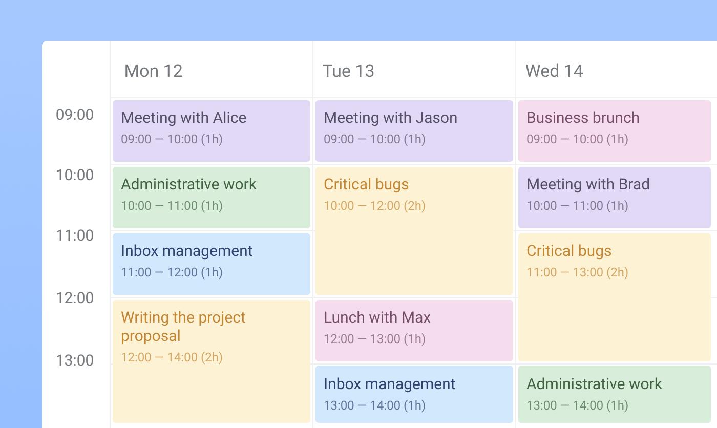 Time blocking on calendar