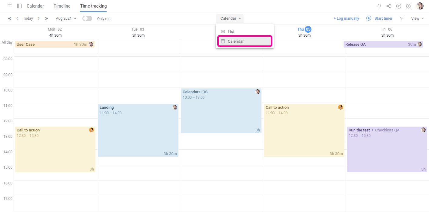 Planyway Time Tracking Calendar View