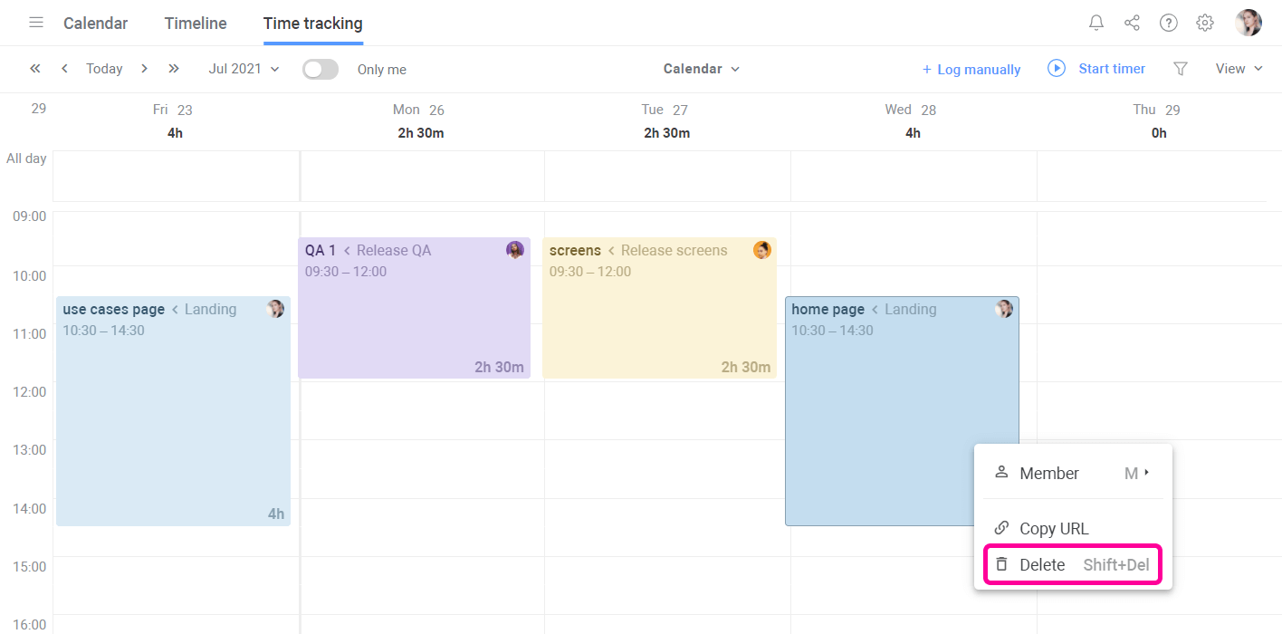 Planyway Time Tracking Delete In Calendar