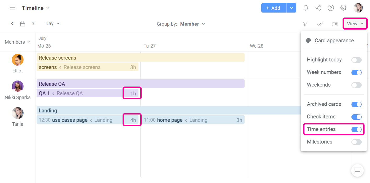 Planyway Time Tracking Visualize Time Entries