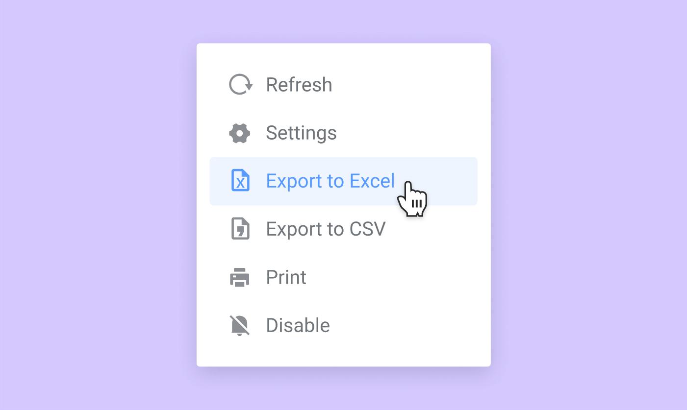 Export data to CSV