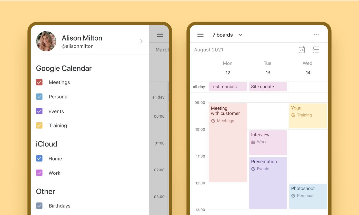 Calendar sync on mobile
