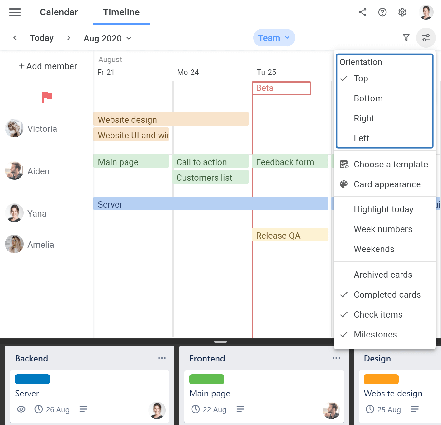 Planyway workspace change extension orientation