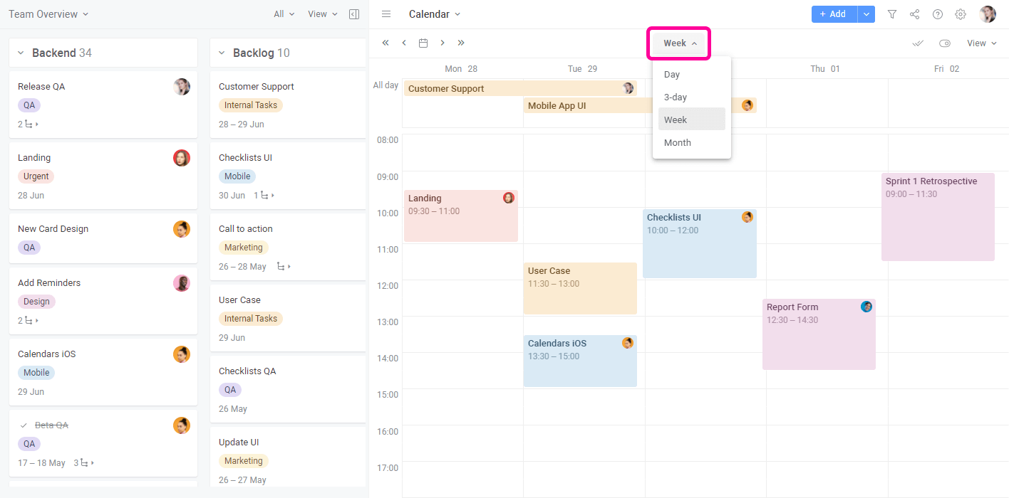 Planyway Getting Started Calendar View