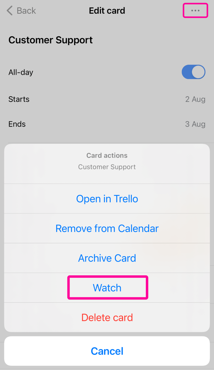 Mobile Notifications Watch Card
