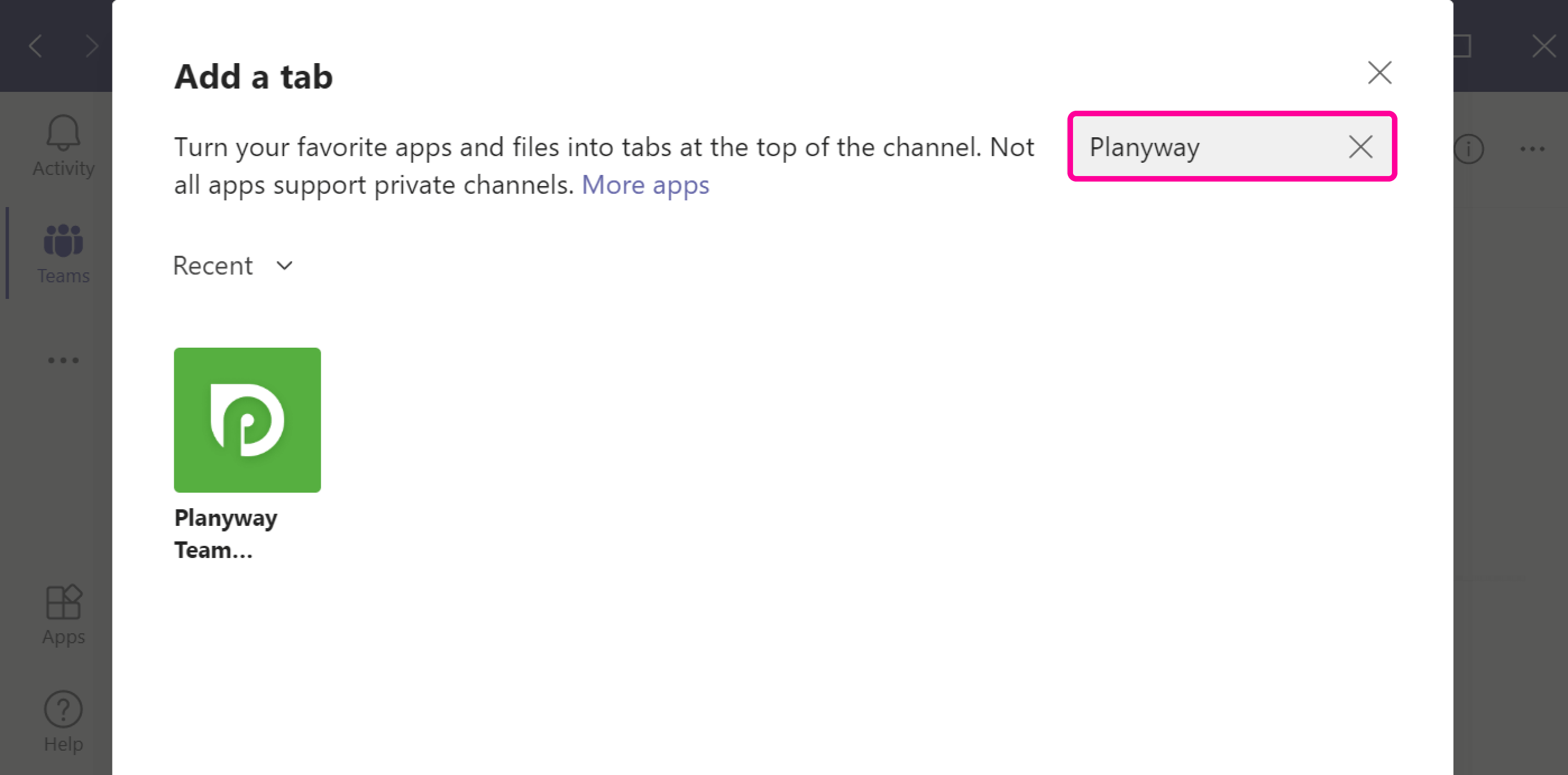 Microsoft Teams search for Planyway