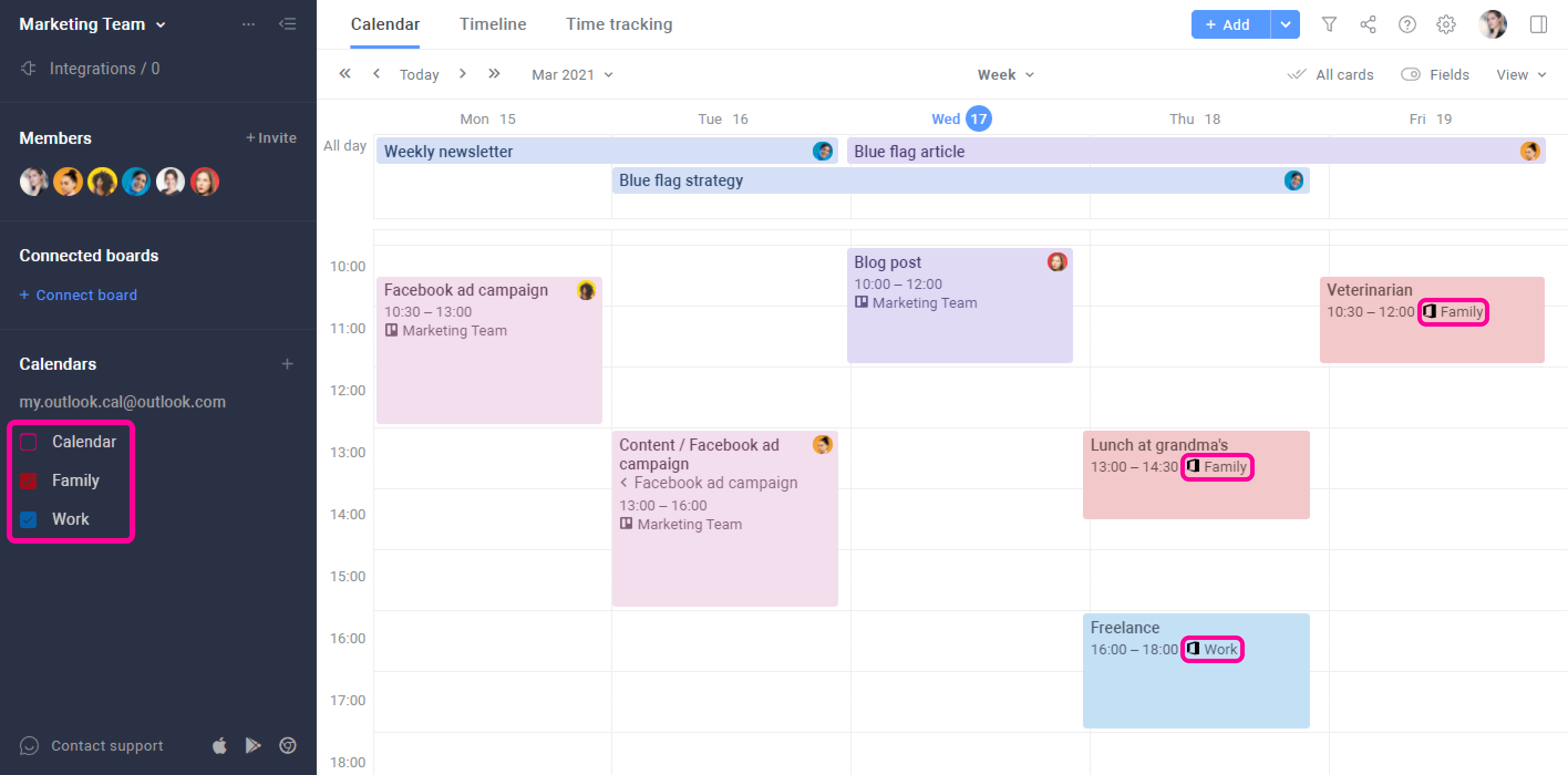 Outlook calendar events
