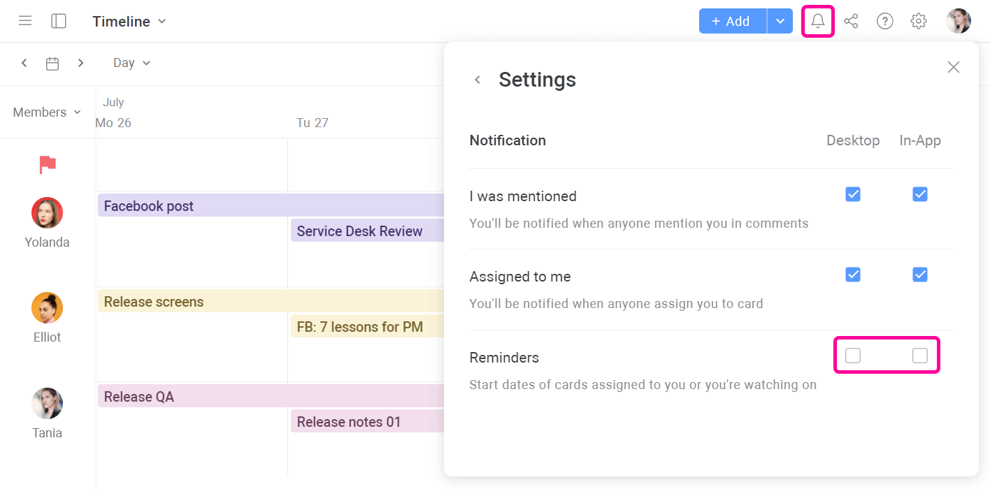 Planyway Reminders Disable Reminders